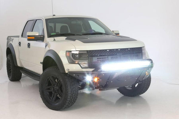 ADD F012892450103 Ford F150 Raptor 2010 - 2014 Stealth Front Bumper Multiple LED Light Mounts In Hammer Black - BumperOnly