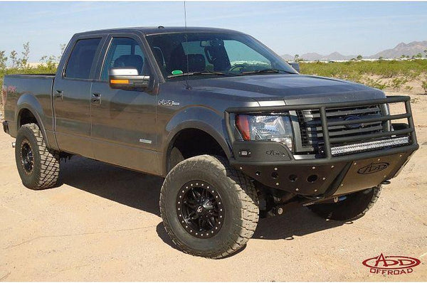 ADD F052742400103 2009 - 2014 Ford F-150 Rancher Front Bumper With Stealth Panels And Light Bar Mounts - BumperOnly