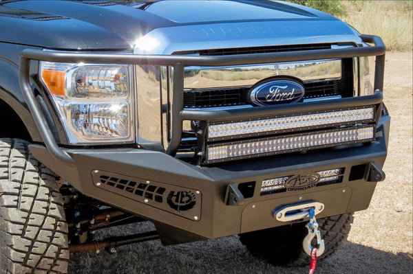 ADD F067375010103 2011 - 2016 Ford F-250/F-350 HoneyBadger Rancher Front Bumper With Winch Mounts And Light Mounts - BumperOnly