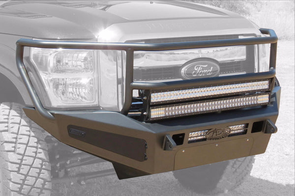 ADD F067505040103 2011 - 2016 Ford F-250/350 HoneyBadger Rancher Front Bumper With Storage Boxes And Light Bar Mounts - BumperOnly
