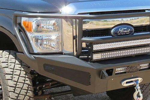 ADD F067555040103 2011 - 2016 Ford F-250/350 HoneyBadger Rancher Front Bumper With Winch Mount And Storage Boxes And Light Mounts - BumperOnly