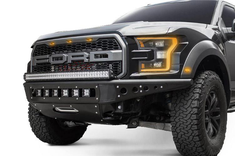 Add F112502820103 Ford F150 Raptor 2017 2019 Venom R Front Bumper With Winch And Led Mounts Hammer Black
