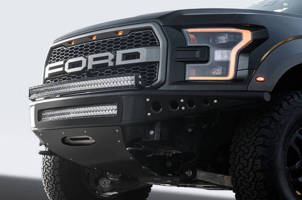 "ADD F112502820103 Ford F150 Raptor 2017 Venom ""R"" Front Bumper With Winch and LED Mounts Hammer Black - BumperOnly"