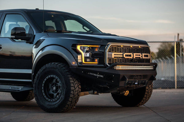 ADD F117432860103 Ford F150 Raptor HoneyBadger Front Bumper With EcoBoost Venting and 40'' LED Light Bar Mounts - BumperOnly
