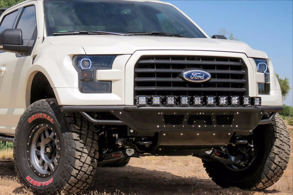 ADD F154582950103 2015 - 2017 Ford F-150 Race Series R Front Bumper With Aluminum Front Valance Panel 10 Single Light Mounts - BumperOnly