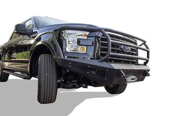 ADD F157425050103 2015 - 2017 Ford F-150 HoneyBadger Rancher Front Bumper With Winch Mount And Light Mounts - BumperOnly