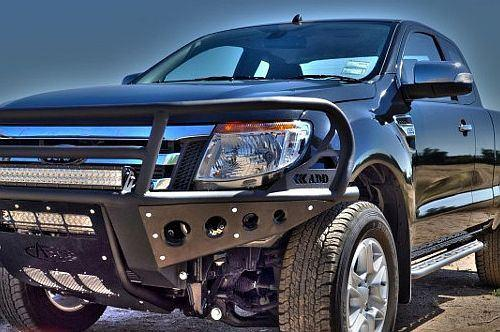 "ADD F252651200103 2011 - 2016 Ford Ranger T6 Rancher Front Bumper With Stealth Panels And Winch And 30"" Light Mounts - BumperOnly"