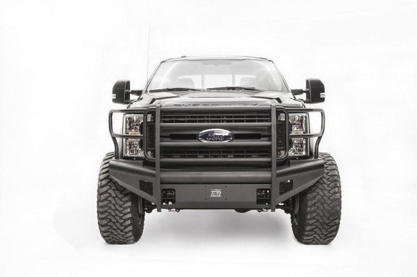 Fab Fours FS17-Q4160-1 Ford F250/F350 Superduty 2017-2019 Black Steel Elite Front Bumper Full Guard with Tow Hooks