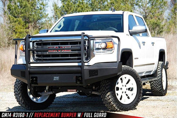 Fab Fours GMC Sierra 1500 2014-2015 Front Bumper Full Guard with Tow Hooks GS14-R3160-1