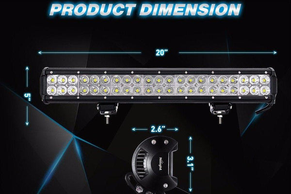 Ultra bright 20'' Universal Off-Road LED Light Bar, 126W - BumperOnly