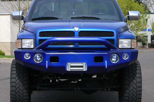 TrailReady 11300P Dodge Ram 2500/3500 1994-2002 Extreme Duty Front Bumper Winch Ready with Pre-Runner Guard - BumperOnly