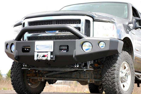 TrailReady 12303P Ford F250/F350 Superduty 2005-2007 Extreme Duty Front Bumper Winch Ready with Pre-Runner Guard - BumperOnly