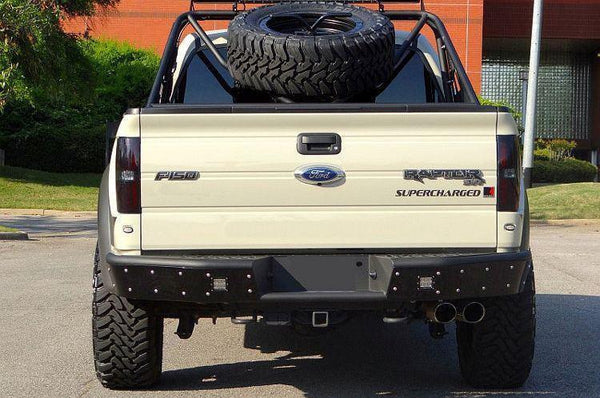 ADD R013401280103 2010 - 2014 Ford Raptor Stealth R Rear Bumper With Dually Light Mounts And Back Up Sensor Cut Outs - BumperOnly