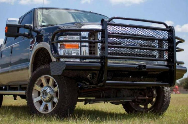 Tough Country Ford F250/F350 Superduty 2008-2010 Front Bumper with Expanded Metal and Tow Hooks,  Gloss Black Powder Coat Finish TFR0800FLRE