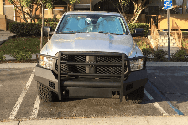 Fab Fours DR13-R2960-1 Dodge Ram 1500 2013-2018 Black Steel Elite Front Bumper Full Guard with Tow Hooks