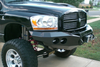 Road Armor Stealth 44070B 2006-2008 Dodge Ram 1500 Front Winch Ready Bumper No Guard, Black Finish and Round Fog Light Hole
