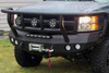 Road Armor Stealth 37202B 2008-2010 Chevy Silverado 2500/3500 Front Winch Ready Bumper Titan II Grille Guard, Black Finish and Round Fog Light Hole