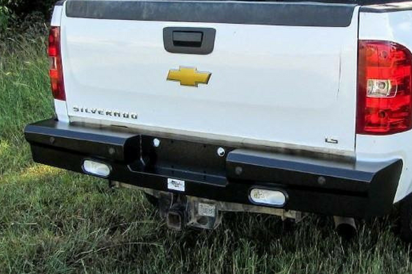 American Built 3RX23082 Chevy Silverado 2500/3500 2008-2014 Panther Rear Bumper with Back-up Sensors