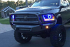 Road Armor 408R5B 2010-2018 Dodge Ram 2500/3500 Stealth Front Winch Ready Bumper Lonestar Guard, Black Finish and Square Fog Light Hole