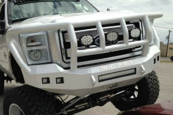 Road Armor 617F2B-NW 2017-2018 Ford F250/F350 Superduty Front Non-Winch Bumper Titan II Grille Guard, Black Finish and Square Fog Light Hole