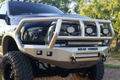 Road Armor Stealth 408R2B 2010-2018 Dodge Ram 2500/3500 Front Winch Ready Bumper Titan II Grille Guard, Black Finish and Square Fog Light Hole