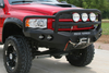 Road Armor 44045B 2003-2005 Dodge Ram 2500/3500 Stealth Front Winch Ready Bumper Lonestar Guard, Black Finish and Round Fog Light Hole