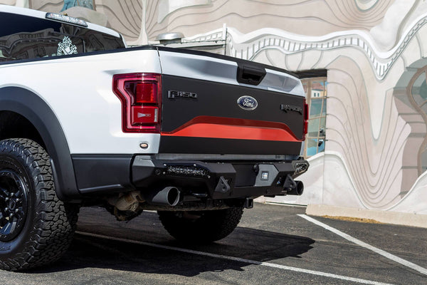 ADD Honeybadger Rear Bumper 2017 Ford F150 Raptor R117321430103 With Tow Hooks and Backup Sensor Holes