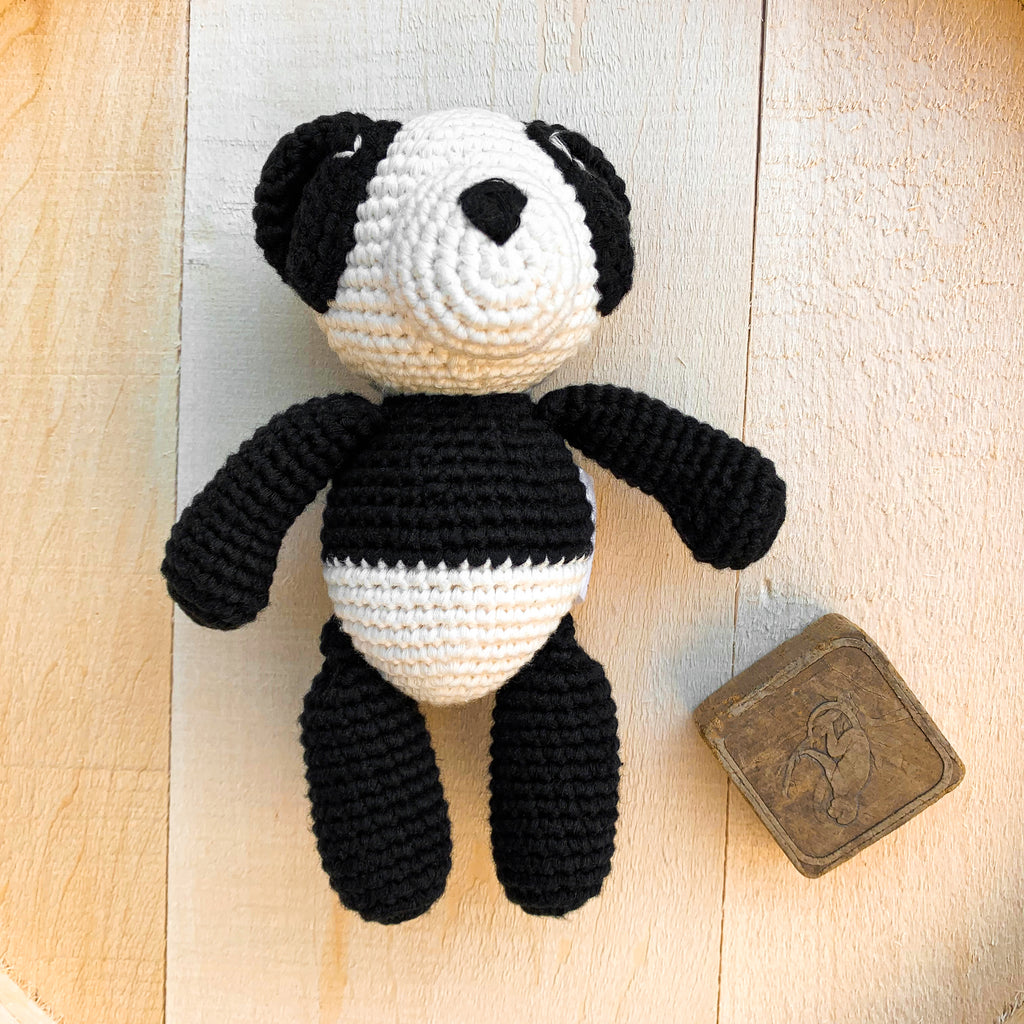 Bam Bam Boo the Little Panda Bear lying down - babyragsnstuff