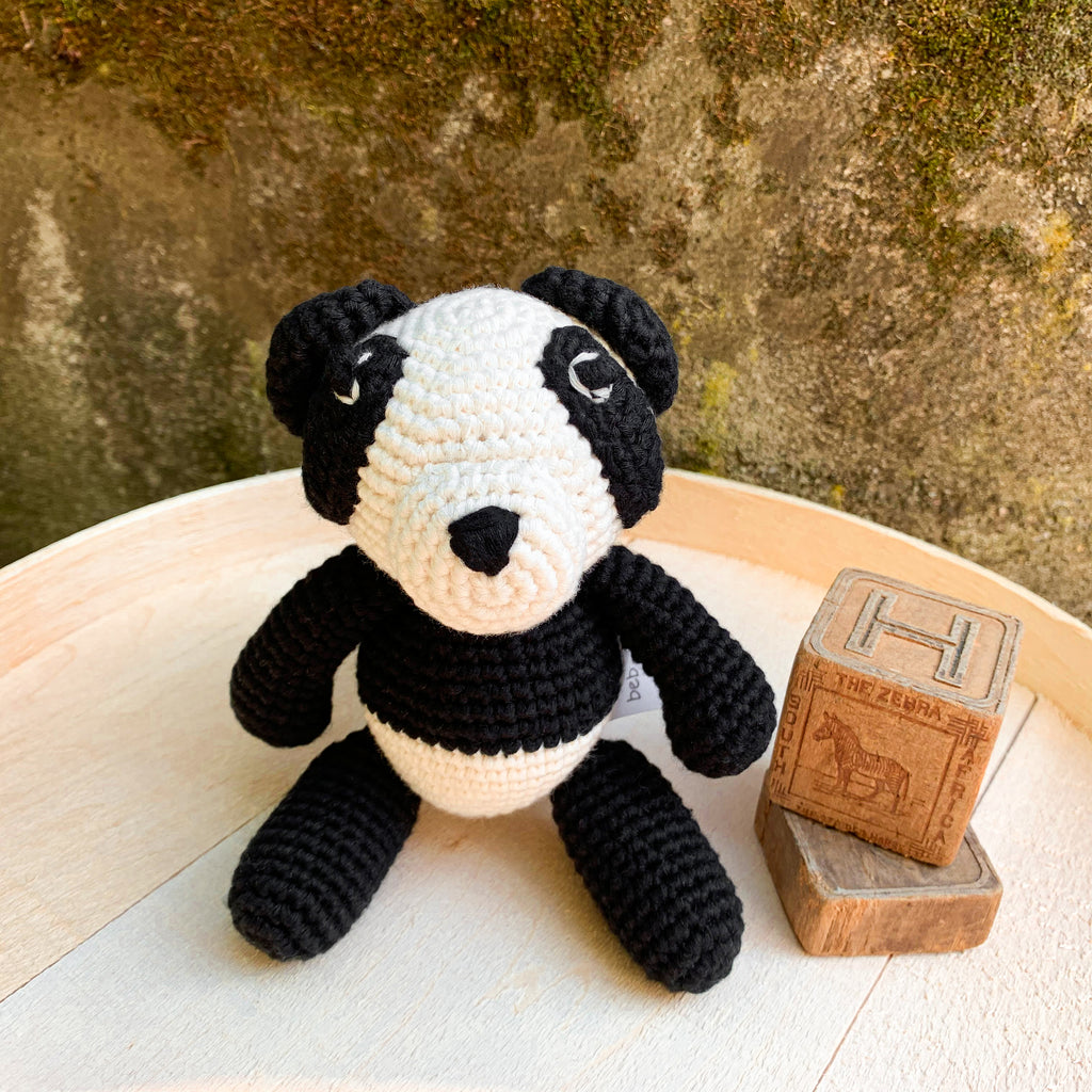 Bam Bam Boo the Little Panda Bear sitting next to blocks - babyragsnstuff