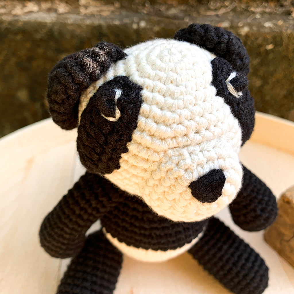 Bam Bam Boo the Little Panda Bear closeup - babyragsnstuff