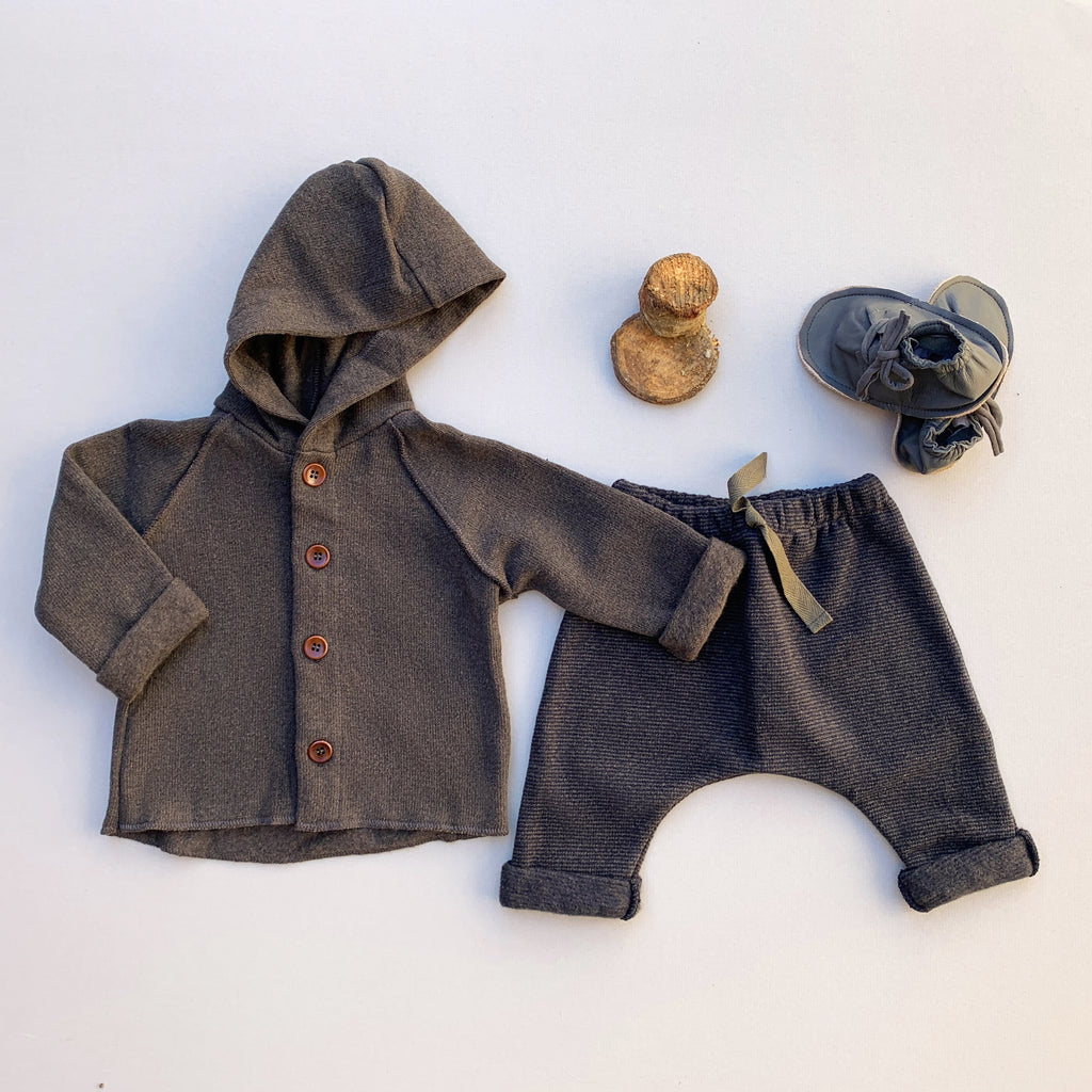 Joao Hooded Jacket shown with Maddox Pants and Jai Leather Booties, babyragsnstuff