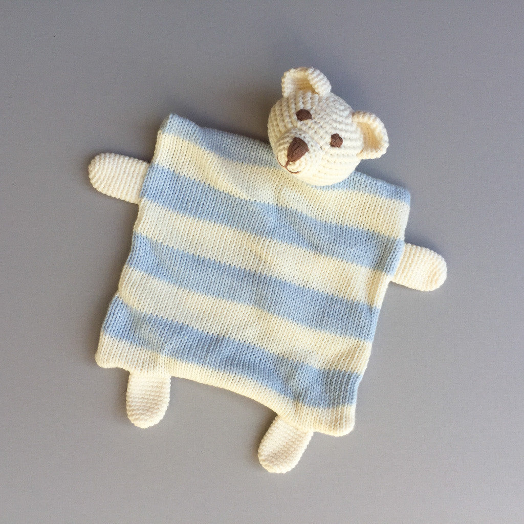 Teddy Sleep/Play Buddy - Blue and Cream - babyragsnstuff