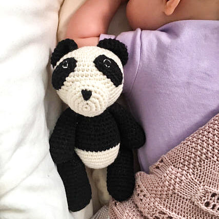 Bam-Bam Boo the Little Panda Bear, lying next to baby - babyragsnstuff