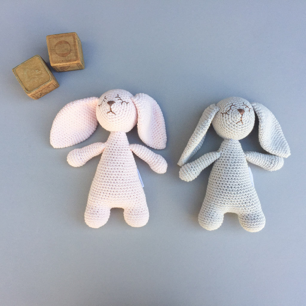 Sleeping Riley the Little Rabbit - Soft Rose - babyragsnstuff