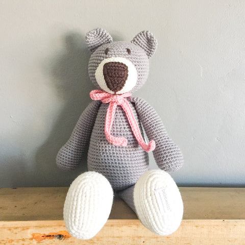 Bailey the Ragamuffin Bear - Grey - babyragsnstuff