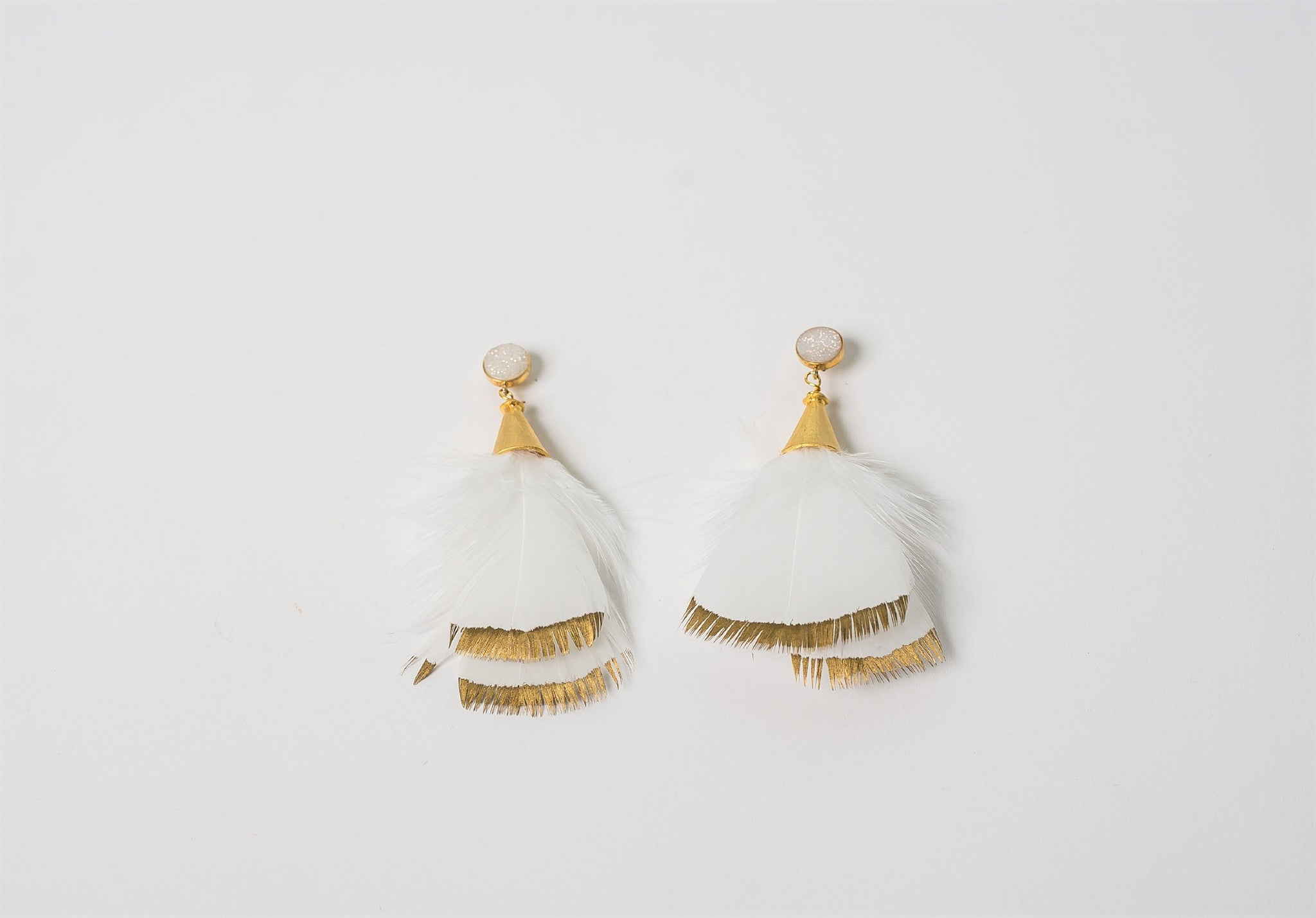 funky feathered peach little feather earrings peacock product
