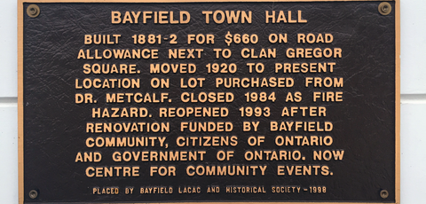 Bayfield Historical Plaque
