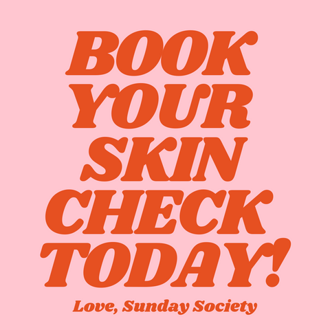 Book your skin check reminder in pink and red