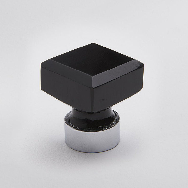 Square Glass Knob Black/Chrome