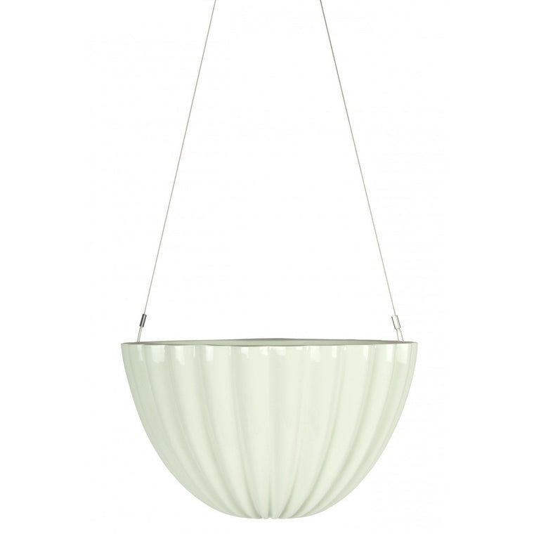 Planter Jelly Oval Pleated Green