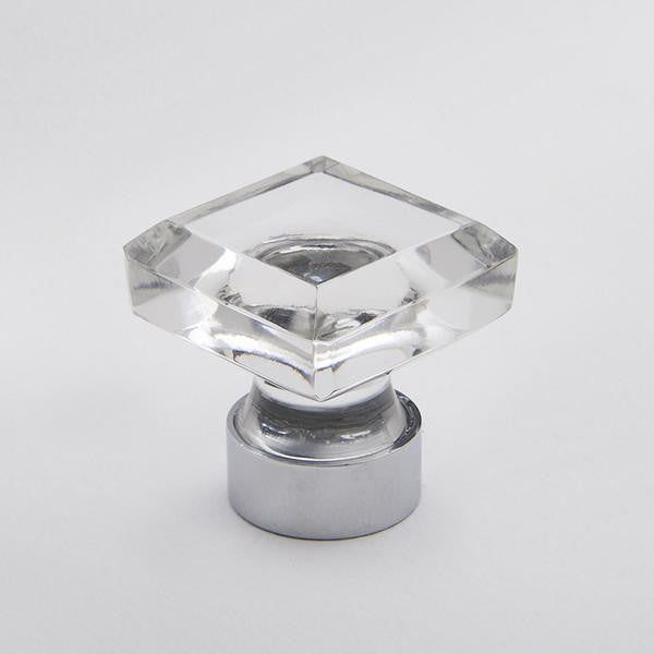 Square Glass Knob Clear/Chrome