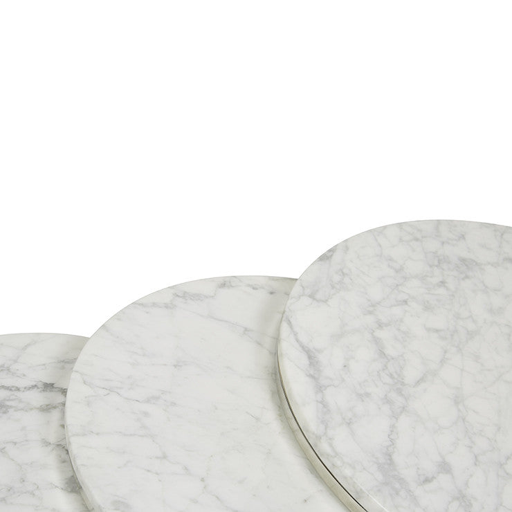 Elle Round Marble Nest of Three Tables