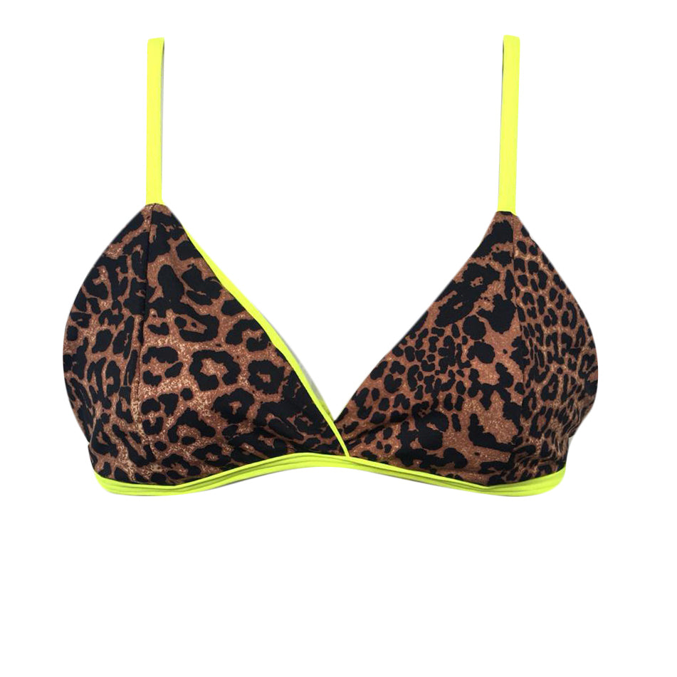 TOP FÍJO LEOPARDO MARRÓN CON AMARILLO