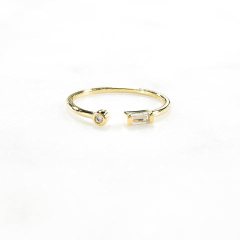 Round + Baguette Ring