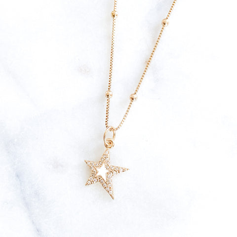 White Star in Satellite Chain Necklace