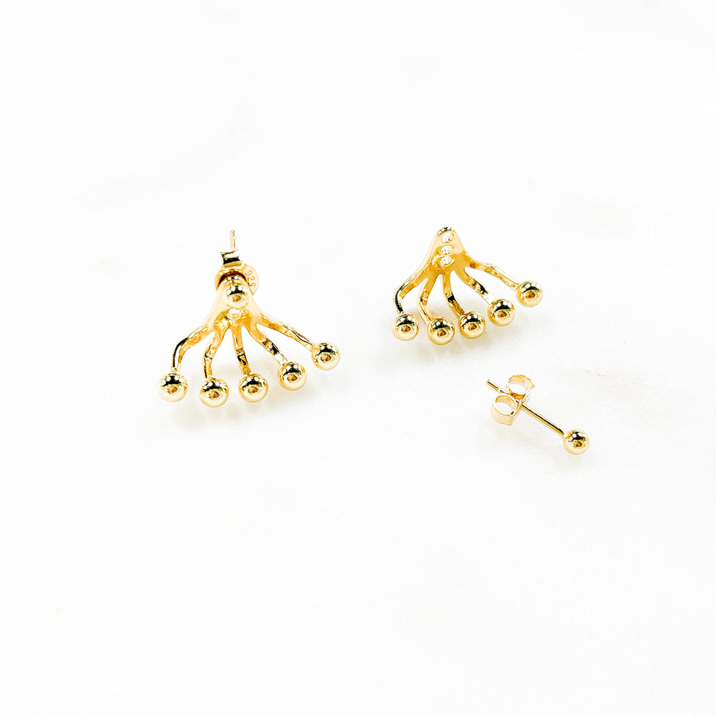 Gold Beads Statement Earrings