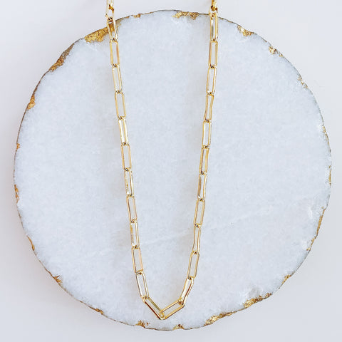 Long Oval Link Midi Necklace