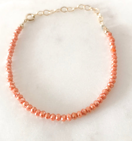 Frosted Coral Crystals Bracelet