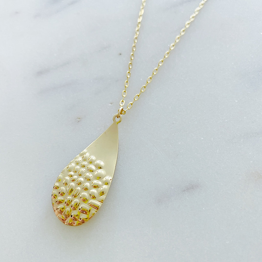 Hammered Drop Necklace