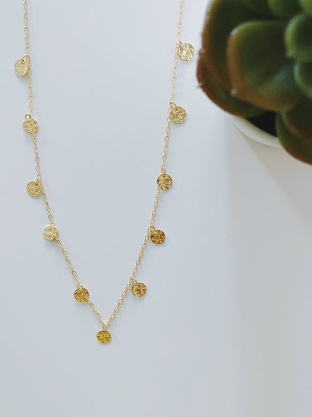 Hammered Medallions Long Necklace
